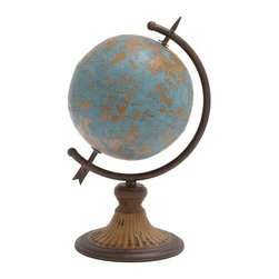 BZBZ20251 - Antique Metal Globe in a Rustic Design - Antique metal globe in a rustic design. Bring the world to your home with this stunning antique metal globe. The globe itself is made from high quality wood, while the stand of the globe is made from the finest metal. This antique metal globe has dimensions of 9wx7dx14h. Some assembly may be required.