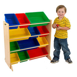 KidKraft - Sort It and Store It Bin Unit - Kiss that clutter goodbye with this Primary Storage Bin Unit. This interchangeable storage system gives kids 12 different convenient places to store toys, clothes, sports equipment and more.