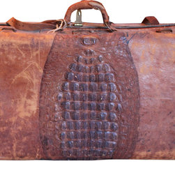 Leather and Alligator Antique Suitcase - This old leather and alligator suitcase is truly unique. It's from the early 1920's and in good condition considering its age. No odor. Beautifully lining with whimsical vintage silk fabric.