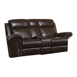 Coaster - Coaster Gideon Bonded Leather Gliding Love Seat in 2-Tone Brown - Contemporary-transitional style meets casual convenience in the unique design of this reclining love seat. A motion love seat meant for family rooms and living rooms, this piece features a quality construction and transitional design with multiple features for convenient living.