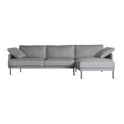 """Camber Full Sectional in Fabric, Right, Onyx Legs - We're very excited to bring you the latest sofa collection from Bernett and Dodziuk, two designers we've worked with since DWR was founded. Hand-built by a California-based manufacturer that's been making comfortable sofas and chairs for more than 50 years, the Camber Sofa Collection (2013) satisfies the designers' goal to find """"the best size and scale for products to maximize living, while refraining from dominating a room,"""" explains Bernett. The result is extreme comfort within slender proportions. Covers are removable for cleaning. Legs ship unattached; simple assembly required. Made in U.S.A."""