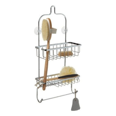 Taymor - Spa Shower Caddy Gift Set, Chrome - The Spa Shower Caddy Gift Set from Taymor is a relaxing and comforting gift to give! Included in the set is a jumbo shower caddy, back brush, nylon poof, nail brush, pumice stone and foot file. Anyone would be happy to receive the Spa Shower Caddy Gift.