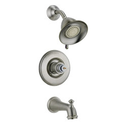 Delta - Victorian Monitor 14 Series Scald-Guard Tub and Shower - Delta T14455-SSLHP Victorian Monitor 14 Series Scald-Guard Tub and Shower Trim Less Handle with Single Function Showerhead and Diverter Tub Spout in Stainless.