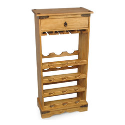 "Small Rustic Pine Wine Rack with Drawer - This classic Mexican wine rack is sturdy and functional. It also holds wine glasses and has a handy drawer. Hand made from solid, kiln dried pine. Visit our website for more. These are individually crafted so size and finish variations may occur. 20"" w x 11.5"" d x 42.5"" h"
