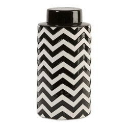 iMax - Chevron Large Canister with Lid - The most popular twist on stripes covers this large lidded canister that looks great in a variety of spaces.