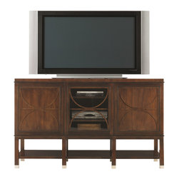 Hickory White - Hickory White Entertainment Console 653-63 - Three doors, center door has glass panel, outside doors have wood panels, six wood adjustable  shelves, wood combination bottom shelf, cable receptacle, ferrules.