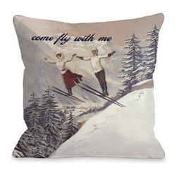 None - 'Come Fly With Me' Vintage Ski Throw Pillow - This darling throw pillow features a vintage scene of two skiers in mid-air against a snowy mountain background with the words 'Come Fly with Me' along the top. Lend unique style to your living space with this stylish accent pillow.