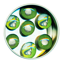 """Golf Glass Gem Magnet Set - Handmade in our studio, each of our glass gem magnets starts with a tiny watercolor painting which is reproduced, and then sealed under glass. We use super strong ceramic magnets, so they're not only cute, they're functional. Each magnet is about 3/4 inch wide, the tin is 2.75"""" wide. Set of 7 in a tin. Made in the USA. 3/4"""" wide. Set of 7 in a tin. (Be sure to look for our golf alarm clock,and wall clock, too!)"""