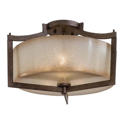 Minka-Lavery - Minka-Lavery Clarte 3-Light Semi Flush - This 3-Light drum shade semi-flush mount has a black finish and is part of the Clart�����_ Collection.