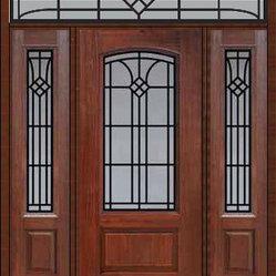 Prehung Sidelites Transom Door 80 Fiberglass Cantania Arch