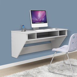 Prepac - Prepac SOHO White Floating Desk - This white floating desk saves precious space in small rooms while creating a modern look for your home. This wall-mounted desk offers a large platform for a computer monitor,books,and a lamp,and the cubby holes let you store needed supplies nearby.