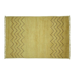 Manhattan Rugs - New Modern Tribal 4' X 6' Ivory & Brown Geometric Hand Knotted Wool Rug MC148 - This is a true hand knotted oriental rug. it is not hand tufted with backing, not hooked or machine made. our entire inventory is made of hand knotted rugs. (all we do is hand knotted)