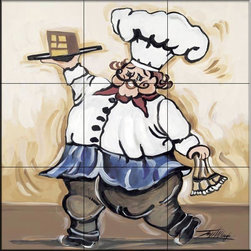 The Tile Mural Store (USA) - Tile Mural - Service With A Smile IV  - Kitchen Backsplash Ideas - This beautiful artwork by Joy Alldredge has been digitally reproduced for tiles and depicts a smiling chef ready to serve his homemade cake.    Our decorative tiles of Chefs are perfect to use for your kitchen backsplash tile project. A chef tile mural adds whimsy and fun to your kitchen wall tile area and makes a wonderful kitchen backsplash idea. Pictures of Chefs on tiles is timeless and these chef decorative tiles blend with any decor. Your kitchen will come to life with a tile mural featuring a chef.