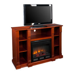 "Southern Enterprises Inc - Southern Enterprises Inc Media Electric Fireplace Classic Mahogany X-8839EF - This transitional media fireplace is as charming as it is useful. The warm, classic mahogany finish, stately carved columns, and open design make this electric fireplace the ideal media solution. This statuesque fireplace features three open shelves for electronic components and game consoles. Two additional open shelves on each side provide storage for movies, games, and books or can be used to display your favorite treasures. Sections are split by gorgeous, carved columns with classic, squared bases. The center section extends an inch beyond the side sections giving the fireplace both focus and depth. The firebox has realistic, multicolor flickering flames and glowing embers with an interior brick design for a more lifelike look. This handsome fireplace is great for the living room and bedroom, and even adds a warm, romantic touch to the home office. This electric fireplace features energy efficient LED and requires no professional installation, making it a cost effective way to upgrade your living or media room. Easy to use remote control offers 4-way adjustability to warm the room conveniently. Safety features include automatic shutoff and glass that remains cool to the touch. Turn off the heat to enjoy the fireplace ambience year round! - FEATURES: - Accommodates a flat panel TV up to 50"" W overall - Includes 2 adjustable shelves and 5 fixed shelves - Offers 3 cord management openings - Classic mahogany finish - PRODUCT SPECIFICATIONS: - Media shelf: 27.5"" W x 16"" D x 9"" H (23.5"" W opening) - Top shelves: 10"" W x 14"" D x 9"" H - Middle shelves: 10"" W x 14"" D x 10"" H (adjust 2"" up/down) - Bottom shelves: 10"" W x 14"" D x 8""/10""/12"" H - Approx. weight: 136.5 lb. - Supports up to: 75 lb. (mantel), 20 lb. (media shelf), 15 lb. (per shelf) - Materials: poplar, MDF, particle board, basswood veneer, metal, glass, resin - Assembly required - Overall: 52"" W x 18"" D x 34.5"" H - FIREBOX: - Lifelike multicolor flames and burning logs with embers - Remote control adjusts thermostat, timer, logs, and flames separately with ease - Supplemental heat for up to 400 square feet - Classic brick style interior and optional down light illumination - Safe, self-regulating heater turns off when desired temperature is met - Conveniently plugs into standard wall outlet with 6' cord - Long life, energy efficient LED bulbs - Glass remains cool to the touch - Use without heater for year round enjoyment - Once powered off, logs and flames slowly turn down - Firebox front: 23"" W x 20"" H - Temperature ratings: 62-82 degrees at 4 degree intervals - Heating/power: 120V/60Hz, 1500W, 12.5 Amps - Batteries: 1 CR2025, included"