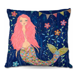 DiaNoche Designs - Pillow Woven Poplin from DiaNoche Designs - Pink Mermaid - Toss this decorative pillow on any bed, sofa or chair, and add personality to your chic and stylish decor. Lay your head against your new art and relax! Made of woven Poly-Poplin.  Includes a cushy supportive pillow insert, zipped inside. Dye Sublimation printing adheres the ink to the material for long life and durability. Double Sided Print, Machine Washable, Product may vary slightly from image.