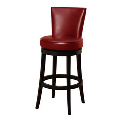 "Armen Living - Boston Swivel Barstool In Red Bicast Leather 30"" Seat Height - The incomparably chic look of the Boston Swivel Barstool in red bicast leather is sure to elevate the design element in your home.  Nailhead accents on the outside back add virulent value to sophisticated style."