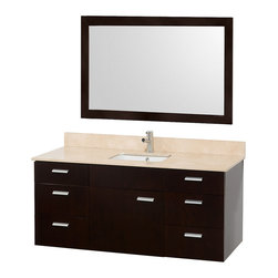 Wyndham Collection - 52 in. Bathroom Vanity Set - Includes one bathroom vanity, one white porcelain undermount square sink, drain assemblies, P traps, 4 in. backsplash and matching mirror. Faucet not included. Ivory marble top. One functional door. Six functional drawers. Plenty of counter space. 8 stage preparation, veneering and coloring process. Water resistant sealed color. Cutting edge and unique styling. Modern wall mount design. Fully extending under mount soft close drawer slides. Concealed soft close door hinges. Single hole faucet mount. Metal exterior hardware. Made from wood, marble and MDF. White, espresso and brushed chrome color. Minimal assembly required. Care Instruction. Vanity: 52 in. W x 22 in. D x 23.5 in. H. Mirror: 46 in. W x 33 in. H