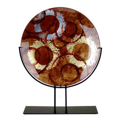 Jasmine Art Glass - 25In Round Platter With Metal Stand 20036 - 25in Round Platter with Metal Stand. Hand painted and fused glass. Breathtaking colors and one of a kind design. These platters are food safe.