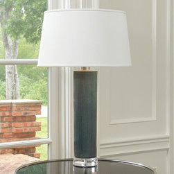 """Global Views - Global Views Stria Ceramic Lamp-Blue - Holds a 150W 3-way """"A"""" lamp bulb10' clear silver cord, 3-way switch at socket18x21x12 Supreme Satin/ #01 White Hardback -Laminate W/Dull Silver Paper Liner - 1/2"""" Self-fold Trim on Top/Bottom"""