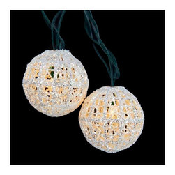 "Lamps Plus - Kids Ten White Balls Party String Lights - Add a little fun to your indoor or outdoor spaces with this set of ten string lights featuring little white balls. Perfect for entertaining or as an eye-catching accent in bedrooms and more these lights add personality and cheer. Includes four spare bulbs and green wire. White ball string lights. 10-light string. For indoor and outdoor use. Includes ten 12v .096 watt clear bulbs. Includes 4 spare bulbs and 2 fuses. Includes 36"" of green lead wire. 12"" of spacing between lights.   White ball string lights.  10-light string.  For indoor and outdoor use.  Includes ten 12v .096 watt clear bulbs.  Includes 4 spare bulbs and 2 fuses.  Includes 36"" of green lead wire.  12"" of spacing between lights."