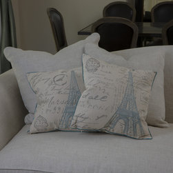 Christopher Knight Home - Christopher Knight Home Embroidered Eiffel Tower Pillows (Set of 2) - Bring Paris home with your with these luxury embroidered throw pillows featuring a light blue print of the Eiffel Tower accented by gray French sayings. The two pillows in this set are a great accent for your sofa or bed,especially if you love France.