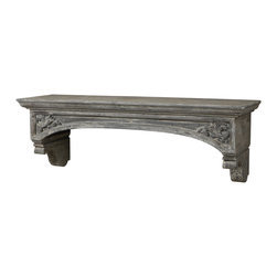 Lusila Mantel - Gray Washed, Solid Fir Wood Gives A Weathered, Worn Expression With European-style, Hand Carved Details, And Subtle Distressing Displays The Artisan Craftsmanship With Meticulous Care. Bulbs Included: No
