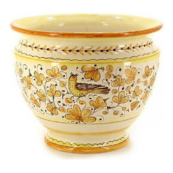 Artistica - Hand Made in Italy - Arabesco Giallo: Luxury Cachepot/Planter Large - Arabesco Giallo Collection