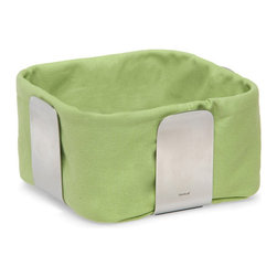 Blomus - Desa Bread Basket - Large, Green - Gaining an edge on the average breadbasket, this model offers a contemporary cube shape that's easier to pass around your table (and to store) than the traditional style. The design has just enough out-of-the-box panache to be interesting.