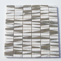 """GlassTileStore - Pier Stonybrook Marble Tile - Pier Stonybrook Marble Tile          This marble mosaic will provide endless design possibilities from contemporary to classic. It creates a great focal point to suit a variety of settings. The mesh backing not only simplifies installation, it also allows the tiles to be separated which adds to their design flexibility. The natural material will have a color variation. .          Chip Size: 1/2""""x2""""    Color: Lotus, China Beige and White Thassos    Material: Stone    Finish: Polished   Sold by the Sheet - each sheet measures 12x12 (1 sq. ft.)   Thickness: 8mm   Please note each lot will vary from the next.            - Glass Tile -"""