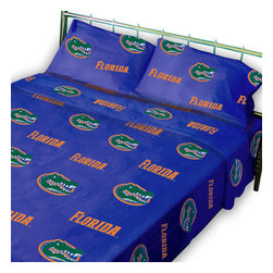 College Covers - NCAA Florida Gators Collegiate Blue Twin X-Long Bed Sheets - Features: