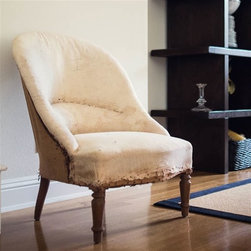 Vintage Chair, Au Naturel - I am a huge fan of natural muslin furniture with that raw, unfinished look. I would put a pair of these chairs in a family room or bedroom for a cozy spot.