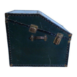 Pre-owned Unusual 1950s Vintage Trunk - The original use of this very unusually shaped vintage trunk from the 1950s is unknown, but we know that you will find something great to store away with style! The dark finish, metal rivets, brass hardware, and leather handle make this trunk an object of beauty. The trunk has a tray for smaller items that rests upon an inner lip, with lots of storage space underneath.