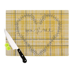 """Kess InHouse - Robin Dickinson """"You & Me"""" Yellow Cutting Board (11"""" x 7.5"""") - These sturdy tempered glass cutting boards will make everything you chop look like a Dutch painting. Perfect the art of cooking with your KESS InHouse unique art cutting board. Go for patterns or painted, either way this non-skid, dishwasher safe cutting board is perfect for preparing any artistic dinner or serving. Cut, chop, serve or frame, all of these unique cutting boards are gorgeous."""