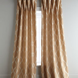"Horchow - ""Simone"" Curtains - Lovely tone-on-tone geometric jacquard curtains add soft definition to window treatment. Made of polyester. Select color when ordering. Fully lined; rod pocket. Dry clean. Sold individually; each panel, approximately 55""W. Imported."