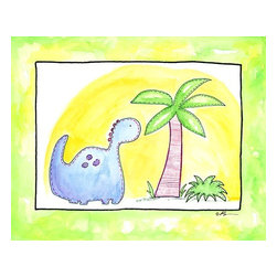 Oh How Cute Kids by Serena Bowman - Lil Blue Dino, Ready To Hang Canvas Kid's Wall Decor, 16 X 20 - Part of my Lil Dino dinosaurs series. At this count I have 4 different dinosaurs series maybe 5??  I seem to have a thing about Dinosaurs.