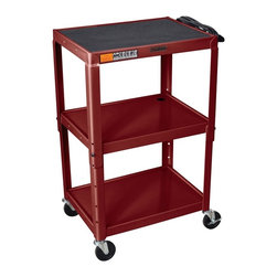 H. Wilson - Adjustable AV Cart w Casters in Burgundy - Three shelves. Three outlet electrical assembly with 15 ft. cord. Non-slip rubber mat for top shelf. Arc-welded shelves. Top and middle shelves holes for cable management. Four 4 in. full swivel ball bearing casters two with locking brake. 0.25 in. retaining lip around each shelf. Weight capacity: Up to 200 lbs.. 24 in. L x 18 in. W x 24 in. - 42 in. H. Warranty. Assembly Instructions