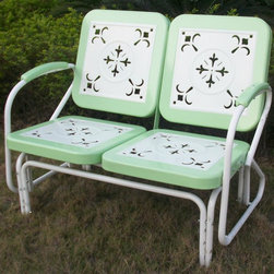 4D Concepts - 2 Seat Metal Retro Glider Chair in Green - Every piece is crafted of sturdy steel and features clean. Simply nostalgic over the cut-out details on all the seat and backrests. Built to be as comfortable as it is charming. Set features a glider for smooth to-and-for motion. Trimmed in a vibrant shade of Green to give this set a little fun. White finished frames and centers. 42 in. W x 27 in. D x 35.5 in. H (54 lbs.)