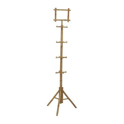 Bamboo54 - Rack Bamboo Clothes - Each peg is 4 in. long. 4 levels of pegs. Solid bamboo clothes rack. Made of Bamboo. Some assembly requried. Height: 82 in. H. Footprint: 24 in.. Sign: 10 in. W x 8.5 in. H