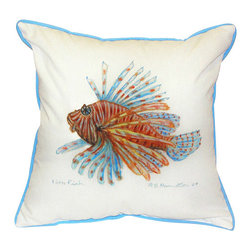 Betsy Drake - Betsy Drake Lion Fish Pillow- Indoor/Outdoor - Lionfish Pillow- Large indoor/outdoor pillow. These versatile pillows are equal at enhancing your homes seaside decor and adding coastal charm to an outdoor setting arrangment. They feature printed outdoor, fade resistant fabric for years of wear and enjoyment. Solid back, polyfill. Proudly made in the USA.