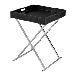 Sterling Industries - Sterling Industries 6043645 Sete Tray Table - Black - Modern Design With Flexibility. Chrome Legs Fold For Storage And Black Faux Croc Tray Top Becomes A Multi Purpose Serving Tray. Use Two In Front Of A Sofa In Place Of A Cocktail Table.  Tray Table (1)