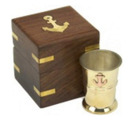 "Handcrafted Model Ships - Anchor Shotglass with Rosewood Box 3"" - Anchor Decor - Our Brass and Copper Anchor Shot Glass with Rosewood Box 3"" gives you a great reason to plan for your next nautical party! Handcrafted by our master artisans, this shot glass display a copper anchor on the brass shot glass. Ideal for nautical enthusiasts and beach-lovers alike, give this gift to those with an affinity for nautical decor. Bottoms up!"