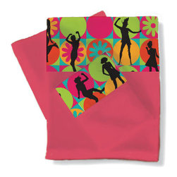 Room Magic - Flower Power Twin Sheets/pillowcase Set - Teen girls will love these hot pink sheets with border of retro 70-s style fabric with daisies and silhouettes of girls. Dancing in hot pink, aqua, orange and lime green .