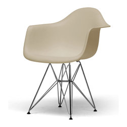 Baxton Studio - Dario Plastic Mid-Century Modern Shell Chairs (Set of 2) - This versatile, contemporary chair is a barebones take on the shape of an armchair with a matte finish and is supported by an equally strong steel base.