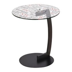 None - Soho-round Printed Glass Accent Table - This ultra contemporary,big city inspired accent table will be a conversation starter in any setting,formal or casual,Red and black text add another level of interest