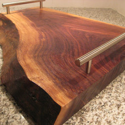 Live Edge Black Walnut Serving Tray by KRW Studios - Now this is what I'm talking about — I love this tray. I'd serve up some tasty cured meats, cheeses and fruits on this bad boy and pair them with some Belgian beer.