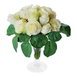 Jane Seymour Botanicals - Roses in Trumpet Vase., White - For the ultimate in elegance, choose white roses — especially these, which will always appear just-cut fresh. Place this delightful bouquet anywhere in your home, and don't let on that you didn't select them from your garden this morning!
