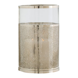 Kathy Kuo Home - Bombay Modern Polished Nickel Glass Hurricane Candle Holder - Small - We love the polished attitude which comes across in the  Bombay Hurricane. The metallic effect of mercury glass is evoked in a distinct nickel finish, but there's a golden, sun kissed sexiness and a hint of pierced metal happening. The result is an instant dose of the easy glamour typical of Malibu, Punta del Este, and of course, Bombay.