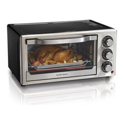 "Hamilton Beach - HB 6 Slice Convection Toaster - This Convection Toaster Oven gives you second oven convenience.  Saves time and energy as it reheats 27% faster and uses 74% less energy.  Convection cooks more evenly as the fan circulates heated air around food to cook more evenly than a traditional oven.  Bake  Convection  Broil and Toast settings.  It features a 30 minute timer with auto shutoff and ready bell and removable crumb tray.  Fits six slices of bread  a 6 lbs. chicken  a 7 lb. roast or a 9"" pizza.  Bake pan and broil rack included.  This item cannot be shipped to APO/FPO addresses. Please accept our apologies."