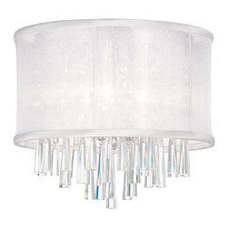 Dainolite - 3 Light Crystal Flush Mount Fixture, White Organza Drum Shade - -Main Body Material: Organza