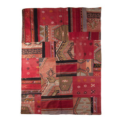 "Patchwork Kilim Rugs - Old fabrics made of stitched-together vintage kilim, jijim and cicim remnants have been collected and re-defined into a contemporary and new work called ""kirkyama"" or patchwork. These rugs are beautifully designed and finished with very heavy cotton backing so they lie flat. There is an undeniable beauty behind a vintage find that cannot be replicated. A good vintage rug will not only anchor a room with its colors and textures, but will be versatile enough to transition into any space. These one of a kind pieces are wonderful textiles representative of your own personal aesthetic."